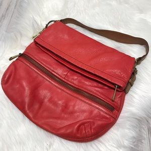 Fossil Red Leather Fold Over Shoulder Bag
